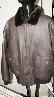 a18a3d79f AIRBORNE LEATHERS MENS Large 100% Leather Bomber Jacket Sz Med Navy ...