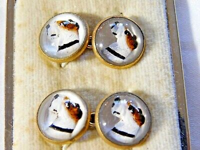 RARE Antique ART DECO CUFFLINKS; HAND PAINTED REVERSE INTAGLIO CRYSTAL, TERRIER