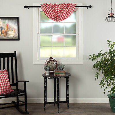 "VHC Brands Annie Buffalo Balloon Valance Red Check 15""x60"""