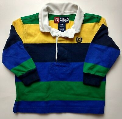 Boys' Chaps Long Sleeve Blue Yellow Green Striped Polo Collared Shirt Size 12M