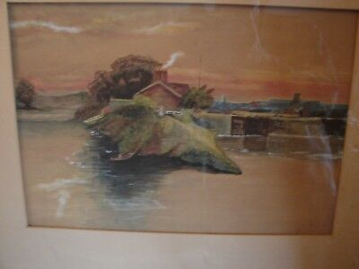 Vintage signed SK Hayes Matted Framed Gouache Watercolor Mill on River Landscape