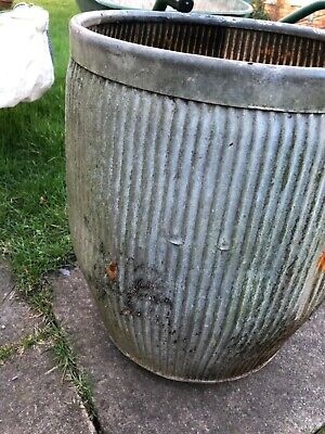 VINTAGE GALVANISED WASHING DOLLY TUB Peggy Planter Plant Pot Not Repro.