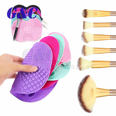 HOT Silicone Makeup Brush Cleaner Cleaning Cosmetic Scrubber Board Mat Pad Tool