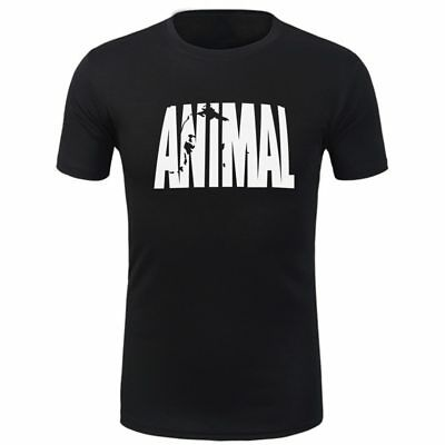 2019 Gym Sport T Shirt Fitness Muscle QUICK DRY Casual Tops Run Animal L