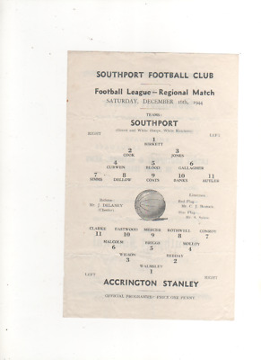 1944-45 SOUTHPORT v ACCRINGTON STANLEY 16th December 1944 Football League North
