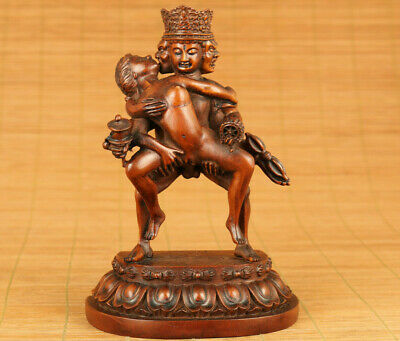 Big old boxwood hand carved evil person buddha statue netsuke table decoration