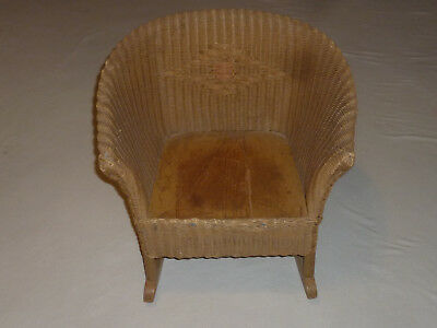 Vintage Wicker Rocking Chair Antique Childs Childrens Furniture Victorian Kid >>