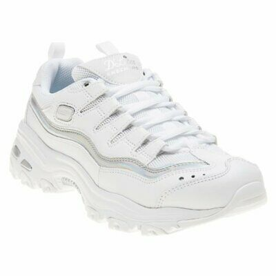 NEW WOMENS SKECHERS White D'lites Textile Trainers Chunky