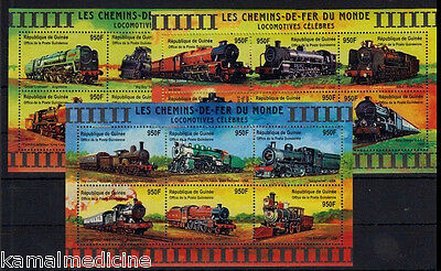 Guinea MNH Set of 3 SS, Steam Locomotives, Trains, Railways  (T6)