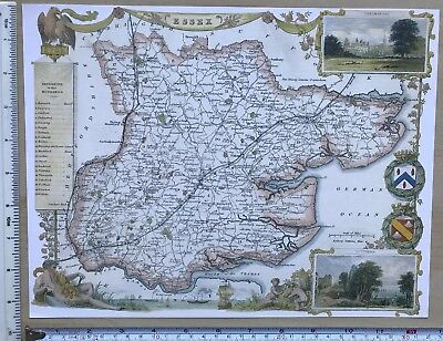 "Old Antique colour map Essex, England: c1830's: Moule: 9.5 x 12."" Reprint"