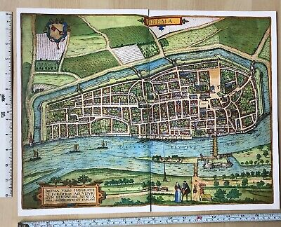 Old Antique Historic Map Bremen, Germany: 1598 Braun & Hogenberg REPRINT 1500's