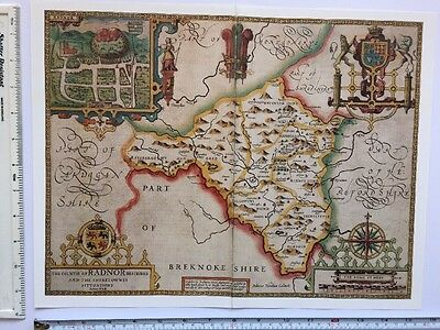 "Old Antique Tudor map of Radnorshire, Wales: John Speed 1600's 15"" x 11"" Reprint"