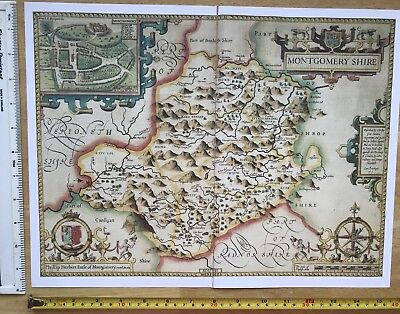 "Old Tudor map of Montgomeryshire, Wales: John Speed 1600's 15"" x 11"" (Reprint)"