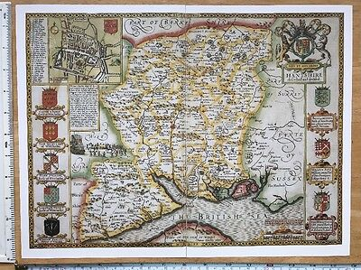 "Old Tudor map of Hampshire, Winchester: John Speed 1600's 15"" x 11"" (Reprint)"