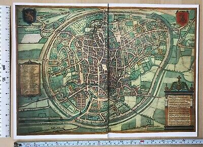 Old Antique Historic Map Brussels, Belgium 1572 Braun & Hogenberg REPRINT 1500's