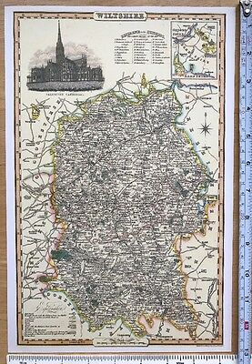 Old Victorian Colour Map of Wiltshire: 1840 Pigot: Historical, Antique: Reprint