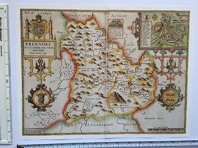 "Old Antique Tudor map of Breconshire, Wales: John Speed 1600's 15"" x 11"" Reprint"