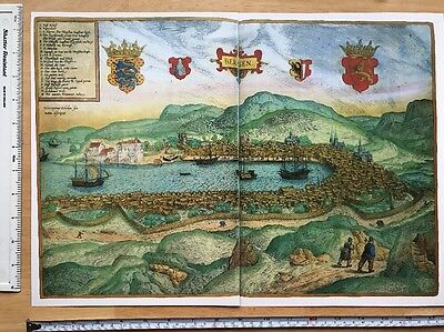 Old Antique Map of Bergen, Norway: 1588 Braun & Hogenberg REPRINT 1500s Tudor