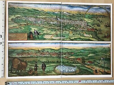 Old Antique Map Barcelona, Ecija Spain: 1567 Braun & Hogenberg REPRINT 1500's
