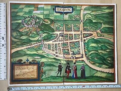 Old Antique Historic Map Edinburgh Scotland 1581 Braun & Hogenberg REPRINT 1500s