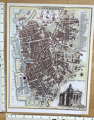"Old Antique colour map Liverpool, England: early 1800's: 12"" x 9 Roper Reprint"