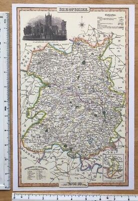 Old Victorian Colour Map of Shropshire: 1840 Pigot: Historical, Antique: Reprint