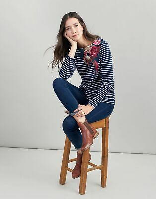 Joules Womens Harbour Printed Jersey Top Shirt in FRENCH NAVY ROSE BIRD STRIPE