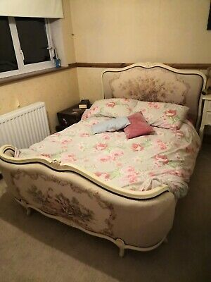 french vintage upholstered double bed frame