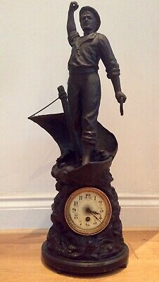 X LARGE MID 19THC. S MARTI & CO FIGURAL MANTLE CLOCK styled as a Matelot