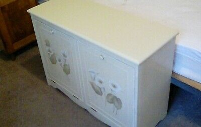 Hand Painted Vintage Antique Style Originals Double Laundry Bin Ottoman