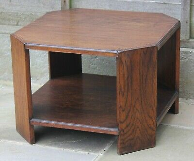 Vintage oak octagonal side table, Arts and Crafts style
