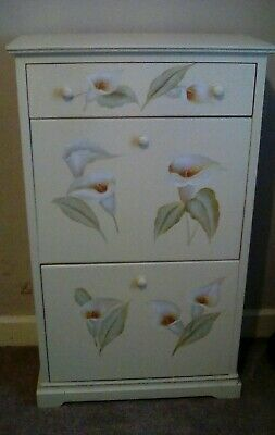 Hand Painted Vintage Antique Style Cream Originals Shoe Storage Cabinet Cupboard