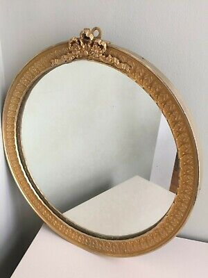 French Round Gilt Bronze Metal Mirror Ribbon Bow Crest Antique Vintage 30cm m180