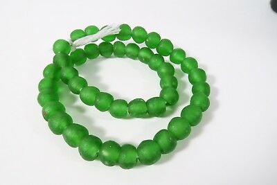 Recycling Glasperlen 13mm grün Krobo Ghana Powder Glass Beads Altglas