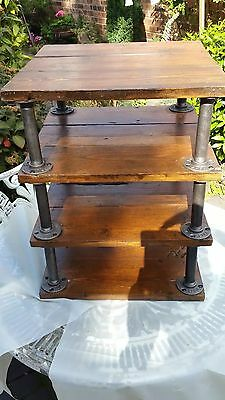 Custom Made Antique Victorian Reclaimed Pine Steampunk Shelving + Iron Pipes