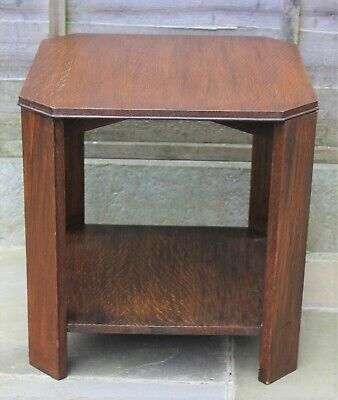 Vintage octagonal side table, Arts and Crafts style, oak.