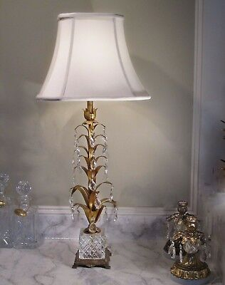 Antique Vtg Italian Gold Gilt Lamp With Crystals Tole Lamp Hollywood Regency