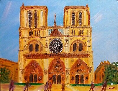 Art Print of Oil Painting by Dave. Cityscape Notre Dame Cathedral Paris France