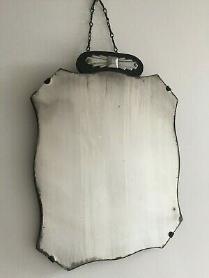 Small Vintage Frameless Foxed Distressed Wall Mirror Grey Patina Art Deco m190
