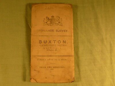 Antique Ordnance Survey Map 1 inch to Mile Buxton Sheet 45