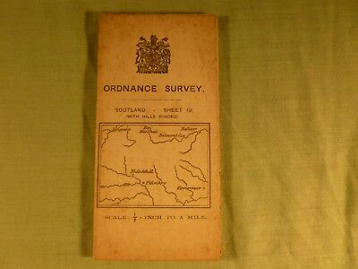 Antique Ordnance Survey Map Scotland Sheet 19 .1/2 inch to a Mile On Cloth 1912