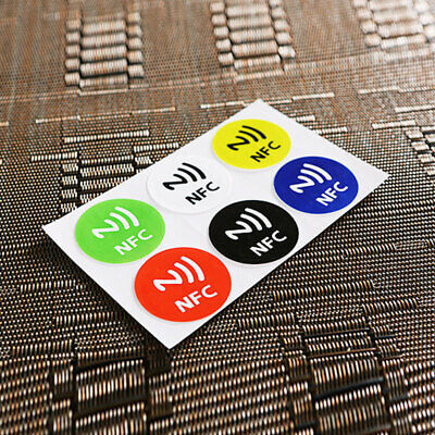 AC3F 3685 6Pcs Waterproof NFC Smart Tags Smartphone Adhesive Chip RFID Label Tag