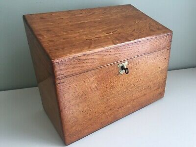 Antique Oak Desk Tidy Letter Stationery Writing Box WITH KEY Working Lock 28cm