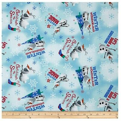 Disney Christmas Fabric By The Yard.Christmas Disney Frozen Olaf Winter Wonderland 100 Cotton