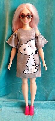 Curvy Barbie Doll Clothes Lot: Peanuts Snoopy Cold Shoulder Dress, Shoes, Access