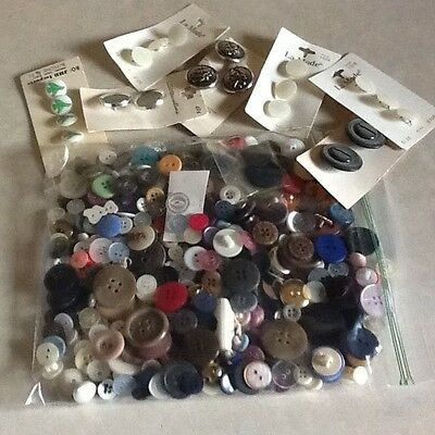 """Hundreds Of Assorted Buttons Some Dating Into 50""""S And New On Card Good Crafting"""