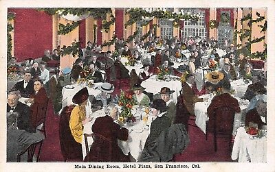 San Francisco California~Hotel Plaza~Main Dining Room~Christmas Wreaths~1920s
