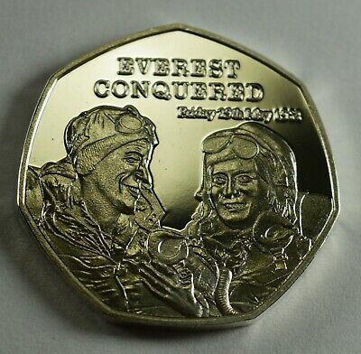 EVEREST CONQUERED 1953 NEWSPAPER Collectors Token/Medal Fine Silver.