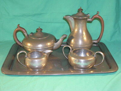 Manor Period Pewter 4 Piece Tea Set & Tray Arts & Crafts Beaten Hammered Pewter
