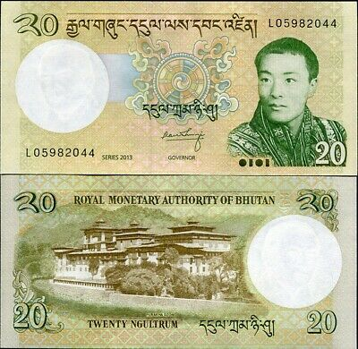Bhutan 20 Ngultrum 2013 P 30 Unc Lot 10 Pcs Nr